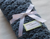 Baby Boy blanket - Crochet baby blanket Country Blue Stroller/Travel/Car seat baby blanket- Baby boy shower gift- Baby blanket