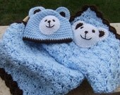 Crochet baby blanket - Baby boy blanket- Baby Boy Shower Gift set - Photography props package - Polar Bear in Baby Blue and Chocolate