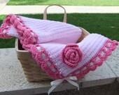 Crochet baby blanket - Pinky Rose Stroller/Travel/Car seat Baby Girl blanket - Photography props