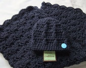 Baby Boy Shower Gift Set - Baby Boy blanket Navy Blue Stroller/Travel size and Button Beanie - Crochet baby blanket
