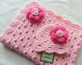 Baby Girl Shower Gift set - Baby Girl blanket - Crochet baby blanket Sweet Pink Arch Shells and Hot Pink Rose Hat  - Photography props