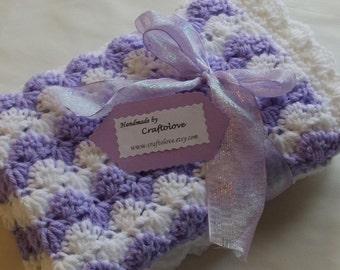 Crochet baby blanket - Baby Girl blanket Lavender Waves Car seat/Stroller/Travel blanket- Baby girl shower gift- Baby blanket