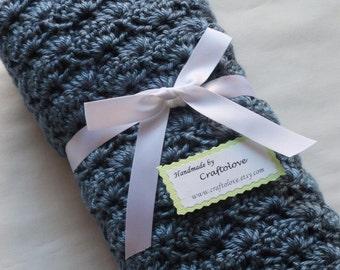 Crochet baby blanket - Baby blanket - Baby boy blanket Crib Size Country Blue Shells blanket - Baby Boy shower gift- Bay boy blanket