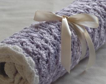 Baby Girl blanket - Crochet baby blanket Lovely Lilac Stroller/Travel/Car seat blanket- Baby girl shower gift- Baby blanket girl