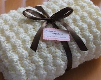 Crochet baby blanket - Baby blanket - Unisex baby blanket - Creamy Puffy Crib size Baby Boy Blanket - Baby Girl Blanket - Baby Blankets