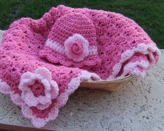 Crochet baby blanket - Baby Girl Shower Gift set - Photography props package - Bubble Gum Pink