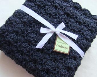 Baby Boy Blanket - Crochet baby blanket- Baby blanket- Crib size Navy Blue Shells baby boy blanket - Blue baby blanket-Baby boy shower gift
