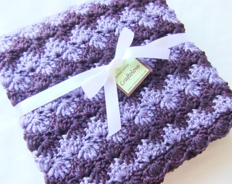 Baby Girl Blanket - Crochet baby blanket - Crochet blanket - Baby Girl Shower Gift- Baby blanket- Crib size Lavender/Plum Wine Shell Waves