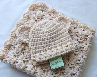 Baby Boy Shower gift and Baby Girl Shower Gift  - Crochet baby blanket - Natural Beige Teddy Bear Baby Boy blanket or Baby Girl Blanket