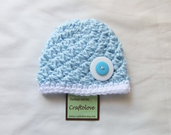 Cloud Sky Button Baby Boy Beanie - Baby Boy Hats - CHOOSE YOUR SIZE - Newborn Photography props