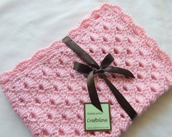 Baby Girl Blanket - Crochet Baby blanket Pink Arch Shells Stroller/Travel/Car seat size- Crochet baby girl blanket- Baby girl shower gift
