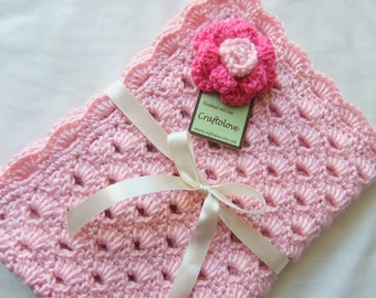 Baby Girl Blanket - Crochet baby blanket Sweet Pink Arch Shells Stroller/Travel/Car seat blanket with Hot Pink Rose - Photography props