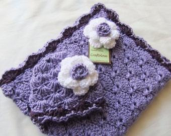 Baby Girl Shower Gift Set - Baby Girl Blanket - Crochet baby blanket Lavender/ Purple Panel Shells and Rose Hat - Photography props