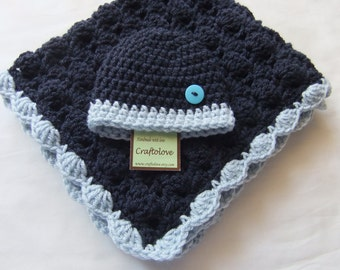 Baby Boy Shower Gift Set - Baby boy Blanket Navy Blue/Light Blue Stroller/Travel size and Button Hat - Crochet baby blanket - Baby blanket