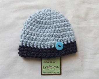 Light Blue/Navy Blue Button Baby Boy Hats - Baby Boy Beanie - CHOOSE YOUR SIZE - Newborn Photography props