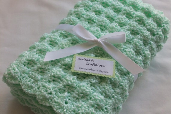 Baby Boy Blanket- Baby Girl Blanket - Crochet baby blanket Mint Green Puffy Splendor Stroller/Travel/Car seat size - Unisex baby blanket
