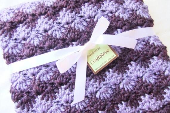 Baby Girl Blanket - Crochet baby blanket Lavender/Plum Wine Shell Waves Stroller/Travel/Car seat blanket-Baby girl shower gift- Baby blanket