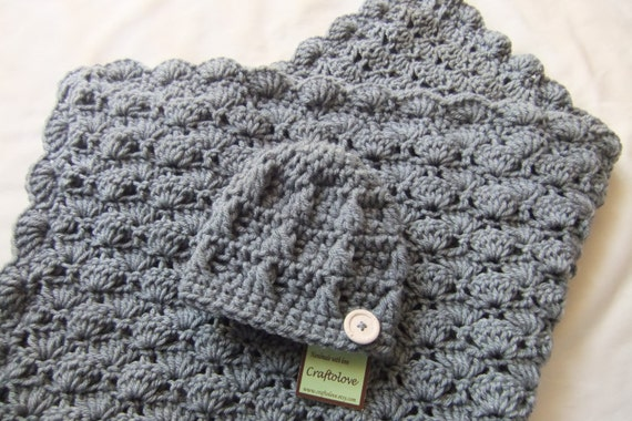 Baby Boy Shower Gift Set - Crochet baby blanket - Baby Boy Blanket Silver Grey Stroller/Travel size and Button Beanie - Baby blanket