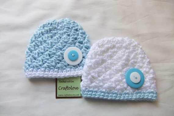 Cloud Sky Baby Boy Beanie - Set of 2 - Twin Baby Boy Hat - CHOOSE YOUR SIZE - Newborn Photography props