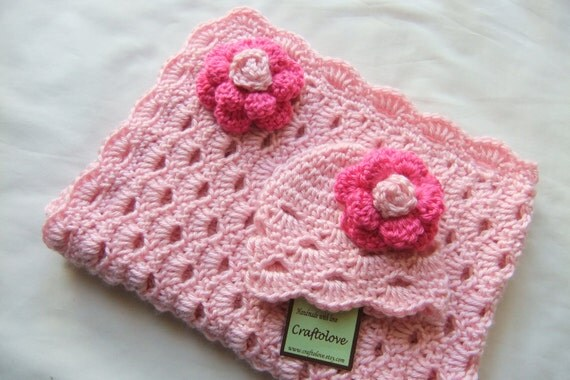 Baby Girl Shower Gift set Baby Girl blanket Crochet baby
