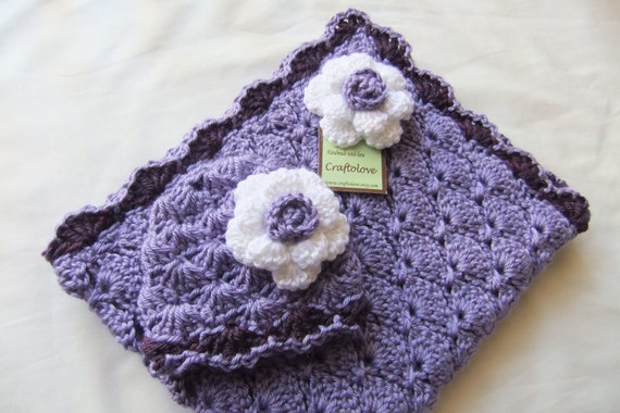 Baby Girl Shower Gift Set - Baby Girl Blanket - Crochet baby blanket Lavender/ Purple Panel Shells and Rose Hat - Photography props