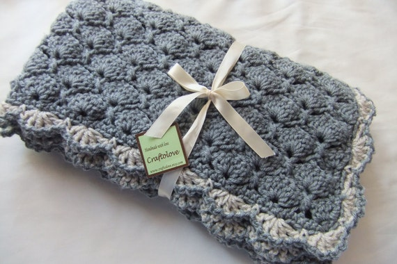 Crochet baby blanket- Baby Boy Blanket- Baby Girl Blanket- Unisex baby blanket-Crib size Silver Grey/ Oatmeal trim Panel Shells baby blanket
