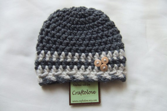 Charcoal Gray/Oatmeal Button Baby Boy Hats - Baby Boy Beanie - CHOOSE YOUR SIZE - Newborn Photography props
