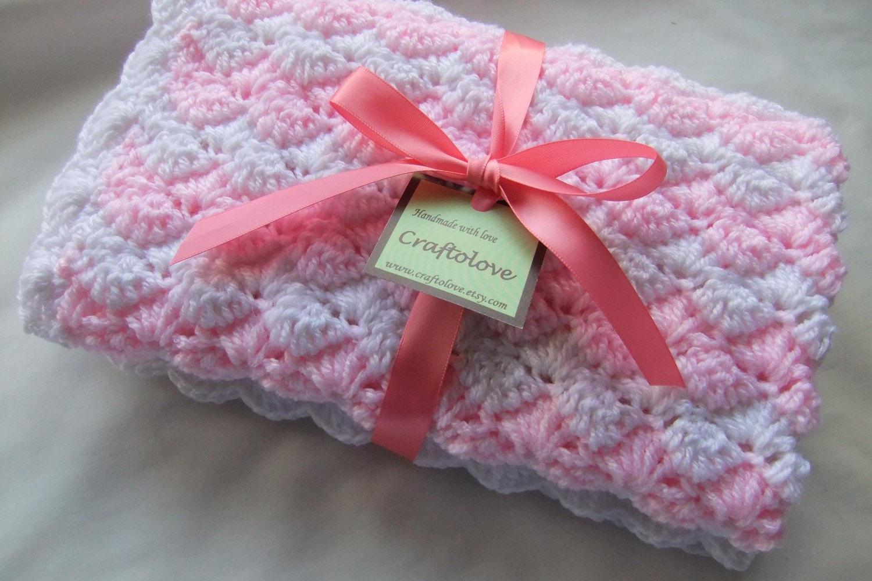 Crochet Baby Blanket Pattern Girl : Crochet Baby Blanket Baby Girl blanket Powder by craftolove