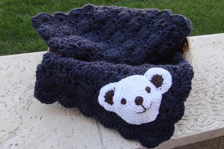 Blue Crochet Baby Blanket New Baby Boy Blanket Crochet