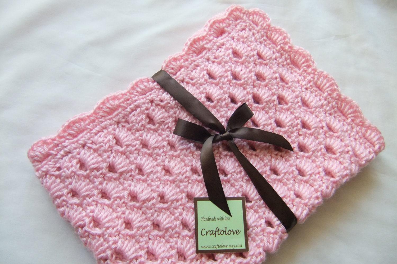 Crochet Baby Blanket Pattern Girl : Baby Girl Blanket Crochet Baby blanket Pink Arch Shells