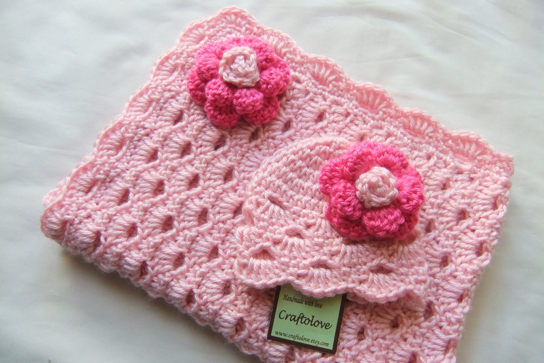 Crochet Patterns Baby Girl Blankets : Baby Girl Shower Gift set Baby Girl blanket Crochet baby