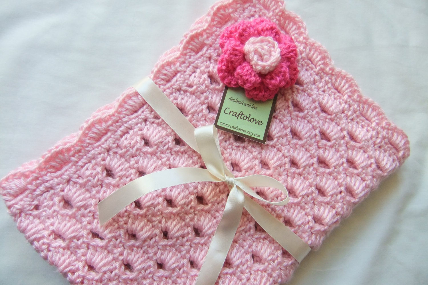 Crocheting Baby Blanket : Baby Girl Blanket Crochet baby blanket Sweet Pink by craftolove