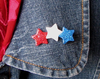Patriotic USA Red White and Blue Stars Polymer Clay Jewelry Brooch Pin