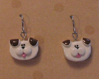 Brown & White Puppy Dog Wire Earrings Polymer Clay Jewelry