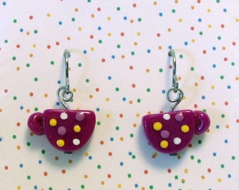 Coffee Cup Earrings Purple with Polka Dots