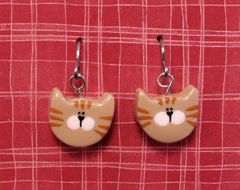 Earrings Orange Tabby Kitty Cats on French Wire