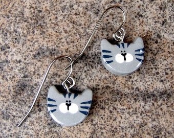 Gray Tabby Kitty Cats on French Wire Earrings Polymer Clay Jewelry