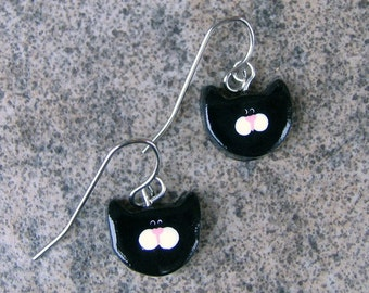 Black & White Kitty Cat Earrings on French Wire Polymer Clay Jewelry