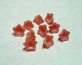 Ten Pink Czech Glass Trumpet Flower Beads  - 184M