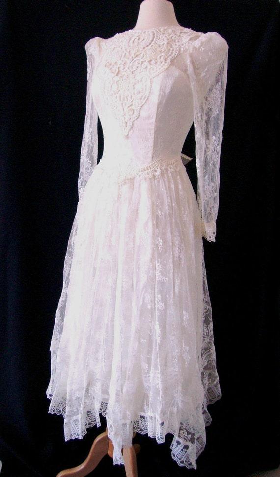 Lace and Romance Prairie Vintage Wedding Gown Garden Party