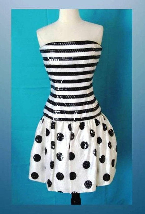 80s Glam Strapless Bustier Cocktail Dress All-Over Paillettes Black & White Stripes Dots Sz 12 U.S.