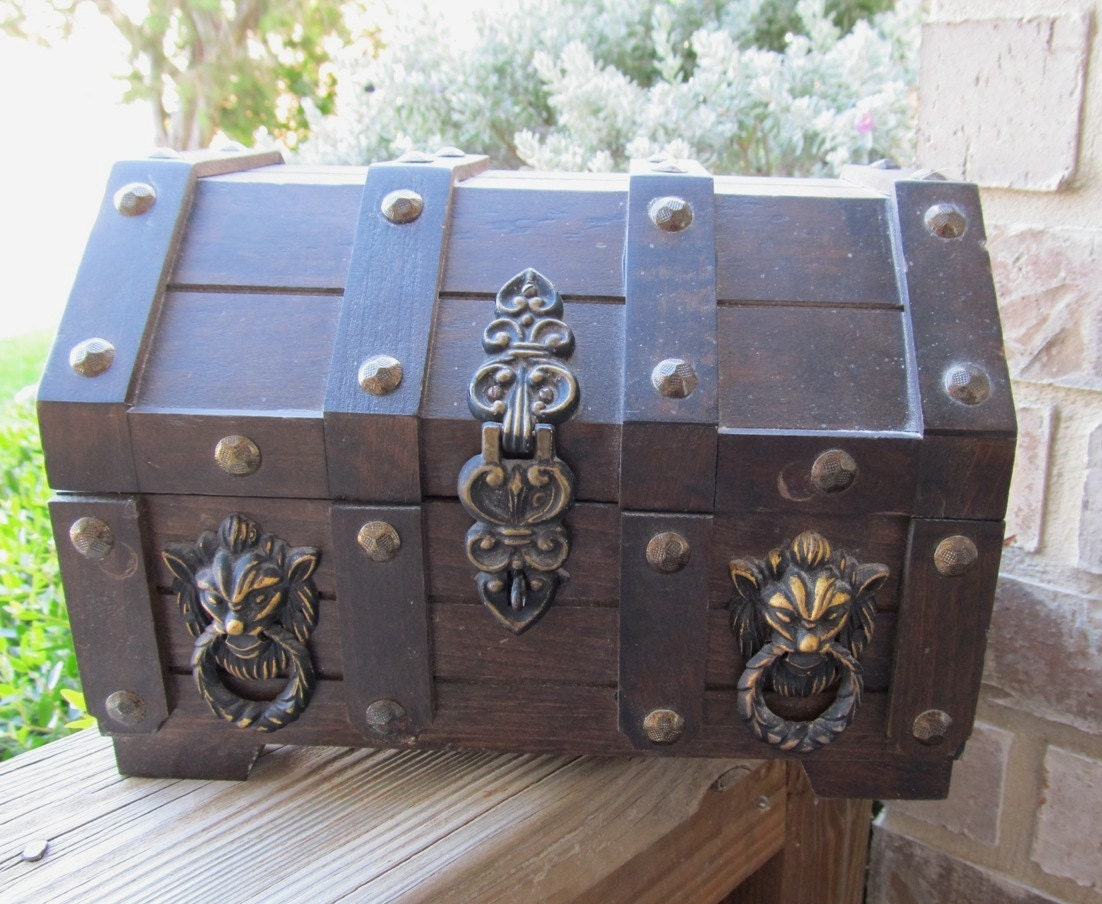 My Medieval Treasure Solid Wood Vintage Jewelry Box Chest