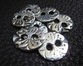 "SET Buttons - Fine Silver 7 Small 1/2"" Button Cardigan Sweater Set - ""Flower Babies"""