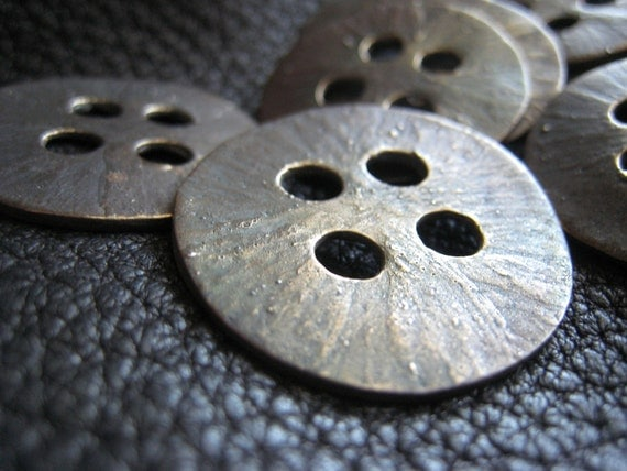 Ancient Days II  Large Bronze Button 7 Button Set - Patinated Oxidized
