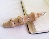 Pen Turned Wood, Mini Bullet, Spalted Oak- Black Ink, Nickle Hardware