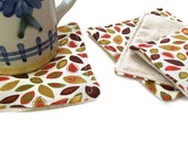 Fall Leaves, Coasters Fabric Reversible set of 4