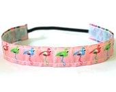 Non Slip Headband, Flamingo on Pink Jacquard Ribbon, Velvet Lined, Medium Width