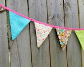 Flag Bunting, Reversible Fabric Pennents, Bright Girly Pink Teal and Brown 10 Flags