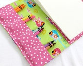 Crayon Drawing Wallet 6x9 paper, Groovy Girl Guitars, with sticker pocket, Lime and Pink