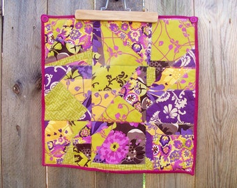 Quilted Wall Hanging Table Topper Purple Gold, SALE